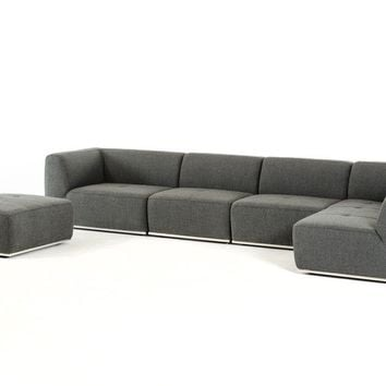 Divani Casa Hawthorn Modern Grey Fabric Sectional Sofa and Ottoman