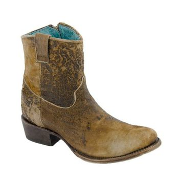 Corral Chocolate & Tan Lamb Abstract Leather Boots C1064