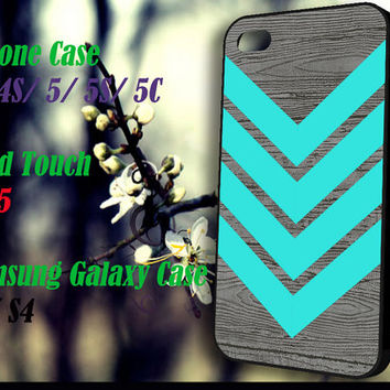 Tiffany blue Chevron Wood iPhone 4 4S 5 5S 5C , iPod Touch 4 5 and Samsung Galaxy S3 S4 Case