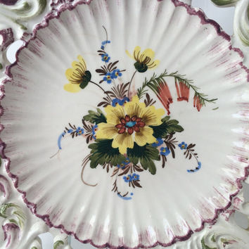 Tin Faience Plate, Nove Italy Pottery, Reticulated Plate, Hand Painted, Highly Detailed, Decorative Hanging, Floral Center, Violet Trim,