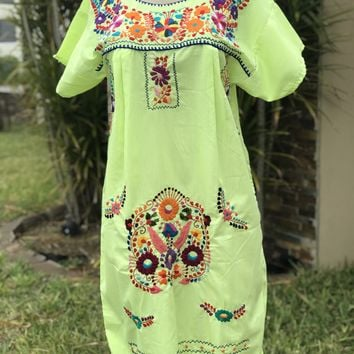 Mexican Traditional Embroidered Mini Dress Lime M