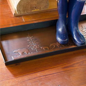 Bear Boot Tray In Embossed Metal | Doormats & Boot Trays