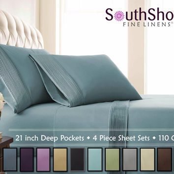 SouthShore Fine Linens- 21 in Extra Deep Pleated Bed Sheet Sets & Pillow Cases
