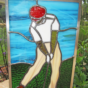 Stained Glass Male Golfer ~ Golfing Panel ~ Gift for Golf Lover ~ Golf Club and Ball