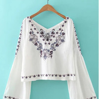 V-Neck Floral Embroidered Cropped Blouse in White or Navy