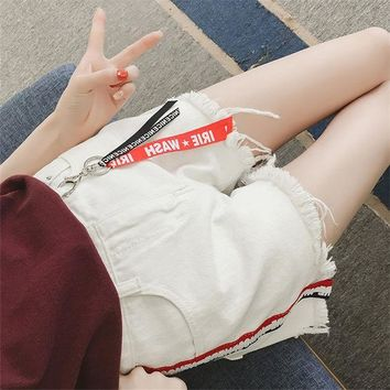 ESBONS Fashion Loose Personality Letter Ribbon High Waist Worn Tassel Denim Shorts Hot Pants Jeans