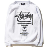 STU classic Stussy parade couple sweater color sweater men and women with the same paragraph round neck head White
