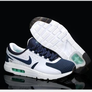Nike Air Max Casual Sports Shoes Suitable for men and women Sneakers (white navy blue