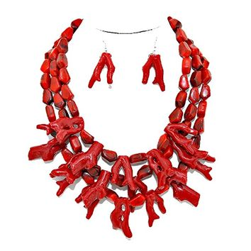 Simple Statement Chunky Deep Red Branch Coral Cluster Necklace Earring Set Reef Beach Vibe