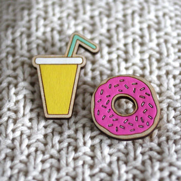 Sale! Drink and Donut, Hand Painted, Laser Cut Jewellery, RockCakes, Made in Brighton UK