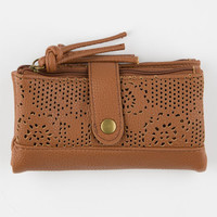 T-Shirt & Jeans Perforated Floral Wallet Cognac One Size For Women 25150940901