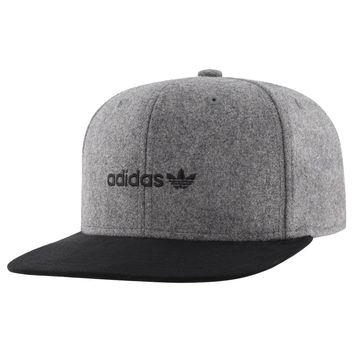 Adidas Men's Originals Snapback Flatbrim Cap Heather Grey/Black Suede One Size