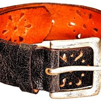 Womens Cute Flower Power Metal Studded Fashion Leather Belt