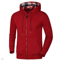 Burberry 2018 autumn and winter new men's sports jacket hooded autumn and winter sweater Red