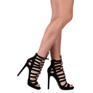 Jayda Lace Up Heels in Black Faux Suede