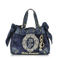 Juicy Couture Designer Handbags Ornate Monogram Velour Mini Daydreamer Satchel