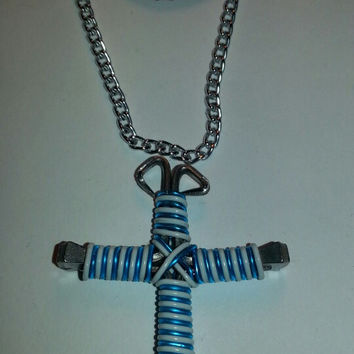 Turquoiuse and white candy cane wire wrapped horseshoe nail cross necklace jewelry