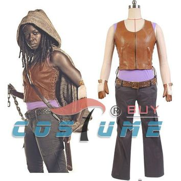 The Walking Dead Michonne Men Women Outfit Vest Pants Cosplay Costume Hot TV