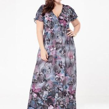 Plus Size Butterfly Printed Women's Maxi Dress