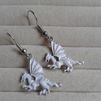 white silvertone dragon  dangle earrings
