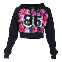 ROSE PRINT FLEECE CROP HOODIE - Black - ESSENTIALS
