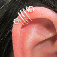 Silver Ear Triple Cuff, Ear Wrap, No Pierce