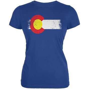 Born and Raised Colorado State Flag Juniors Soft T Shirt