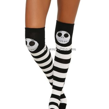 Licensed cool Disney The Nightmare Before Christmas Jack Striped Over-The-Knee Hi Socks 1PR