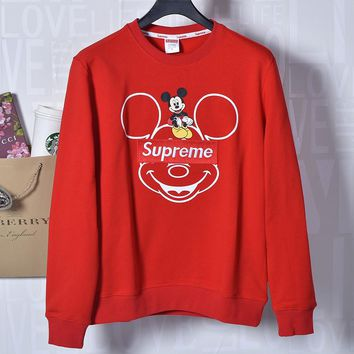 Supreme & Mickey Mouse Autumn and winter new fashion bust mouse print embroidery letter back letter mouse number print couple loose leisure sweater Red