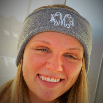 Monogrammed GREY Fleece Headband Ear Warmer  Font shown INTERLOCKING in white