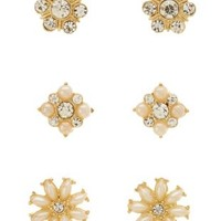 Pearl & Rhinestone Cluster Stud Earrings - 3 Pack