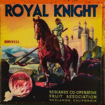 Royal Knight - Vintage Citrus Crate Label - Handmade Recycled Tile Coaster