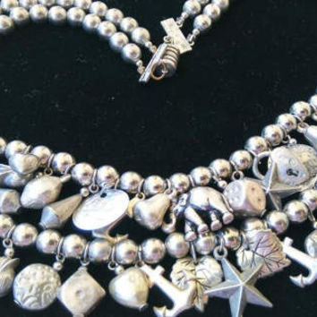 Vintage Charm Necklace - Loaded Anchor Heart Lock Star Dice Fruit Leaf Flower Coin Elephant 36 Charms Crafting Supplies Upcycle