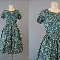 Early 60s Dark Print Dress, fits 35 inch bust, Vintage 1960s Day Dress with full skirt