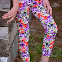 Girls Leggings Floral Coral, Purple & Gray