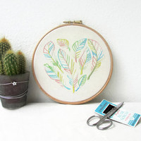 Hand embroidery wall art, heart of feathers design, feather embroidery, wall hanging, modern embroidery, New home gift, handmade in the UK