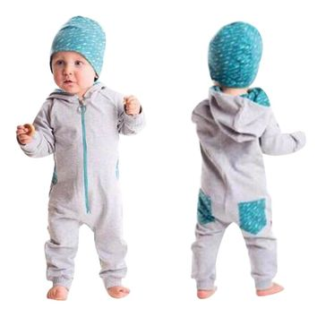 New 2 Color Toddler Baby Boy Clothes Splice Zipper Hooded Romper Jumpsuit Playsuit 2PC Outfits Clothing Conjunto Menino