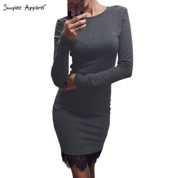 Simplee Apparel Elegant lace gray bodycon dress Christmas evening party long sleeve winter dress Women casual vestidos de fiesta