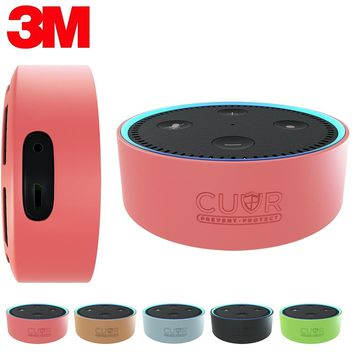 Silicone Case for Amazon Echo Dot with 3M Wall Mount Pad [No Drills] by Cuvr (Pink)