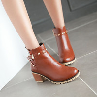 Studded Ankle Boots Chunky Heel Motorcycle Boots 4061