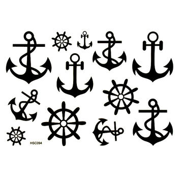 1 Sheet Waterproof Temporary Chic Wheel Anchor Tattoo Sticker Body Art Decals Paper Tattoos Stickers
