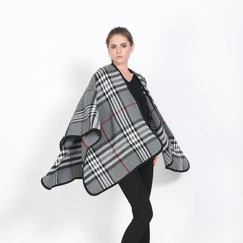 Fashion Bandana 2016 New British Plaid Tartan Blanket Poncho Capes Winter Cashmere Scarves Women Oversize Long Soft Print Scarf