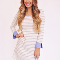 Grey Striped Denim Cuff Tunic