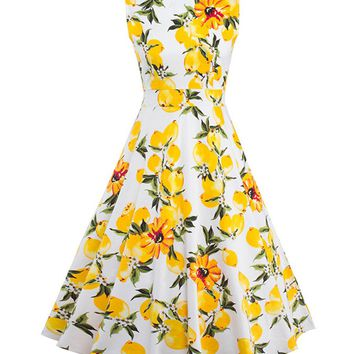 Casual Boat Neck Fruit Floral Printed Skater Dress
