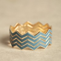crossed paths chevron bangle set in blue at ShopRuche.com