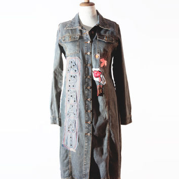Upcycled denim long jacket for women including an original Armani patch