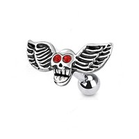 16g Winged Skull and Red Gem Eyes Cartilage Earring Stud Body Jewelry Piercing with Surgical Steel Barbell 16 Gauge