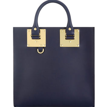 Large Square Leather Tote Bag, French Navy - Sophie Hulme