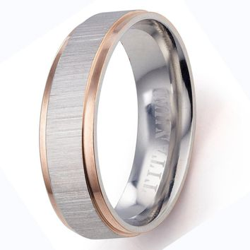 CERTIFED 6MM Bride Muti Tone Rose Gold Silver Couple Promise Anniversary Wedding Ring