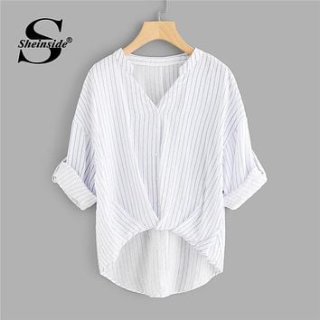 Sheinside Striped Dip Hem Shirt Women Rolled Up Sleeve V Neck Casual Top 2018 Summer Asymmetrical Office Work Blouse